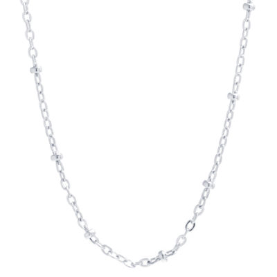 Silver Reflections Pure Silver Over Brass 18 Inch Solid Bead Chain Necklace