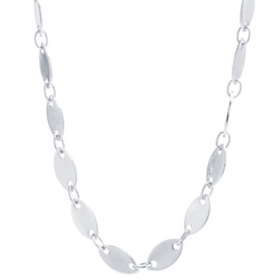 Silver Reflections Pure Silver Over Brass 16 Inch Solid Link Chain Necklace
