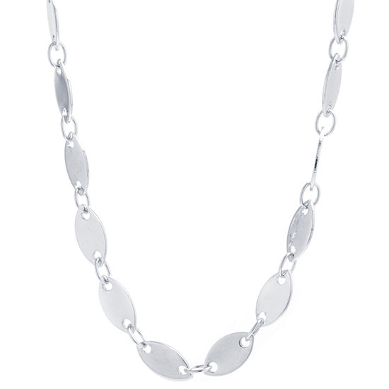 Silver Reflections Pure Silver Over Brass 16 Inch Link Chain Necklace