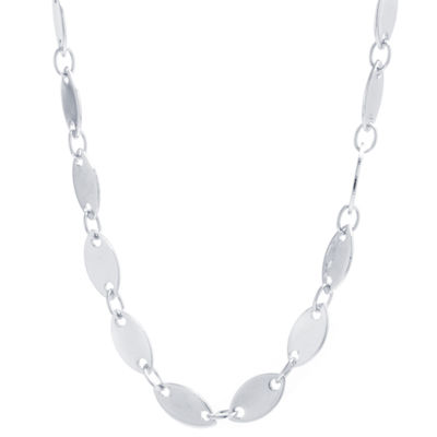 Silver Reflections Pure Silver Over Brass Solid Link Chain Necklace
