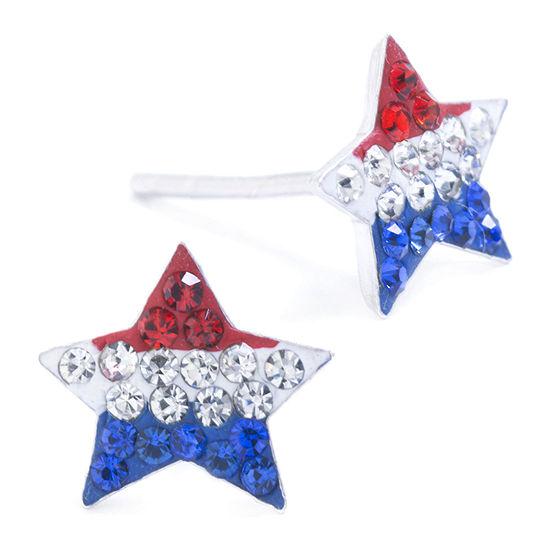 Silver Treasures Multi Color Crystal Sterling Silver 8mm Star Stud Earrings