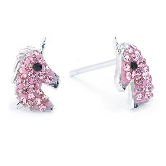 Silver Treasures Sterling Silver Pink Crystal Unicorn Stud Earrings