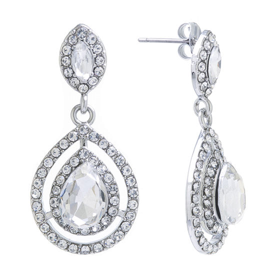 Sparkle Allure Crystal Pure Silver Over Brass Drop Earrings