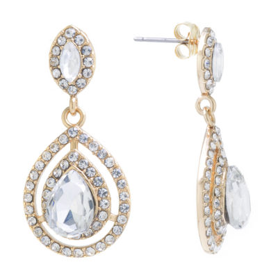 Sparkle Allure Crystal 24K Gold Over Brass Drop Earrings