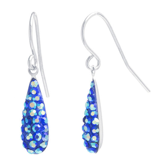 Silver Treasures Crystal Sterling Silver Pear Drop Earrings