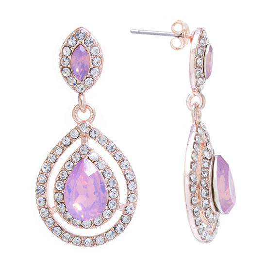 Sparkle Allure 24K Rose Gold Over Brass Pink Crystal Drop Earrings