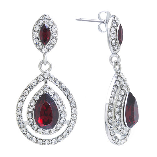 Sparkle Allure Red Crystal Pure Silver Over Brass Drop Earrings