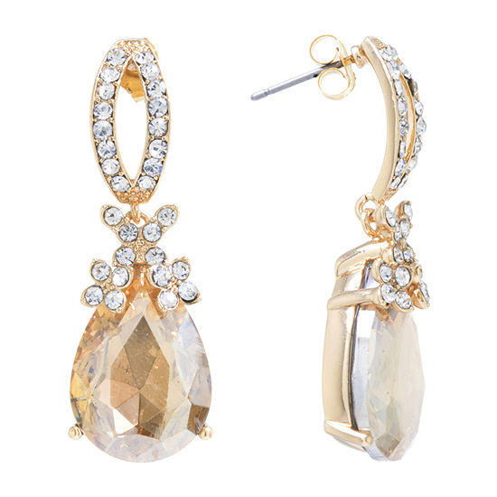 Sparkle Allure 24K Gold Over Brass Champagne Crystal Drop Earrings