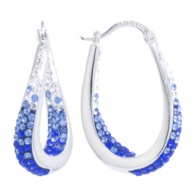Sparkle Allure Blue Crystal Pure Silver Over Brass 32mm Hoop Earrings