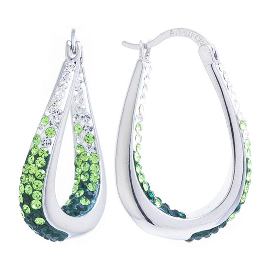 Sparkle Allure Green Crystal Pure Silver Over Brass 32mm Hoop Earrings