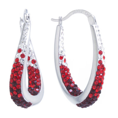 Sparkle Allure Red Crystal Pure Silver Over Brass 32mm Hoop Earrings