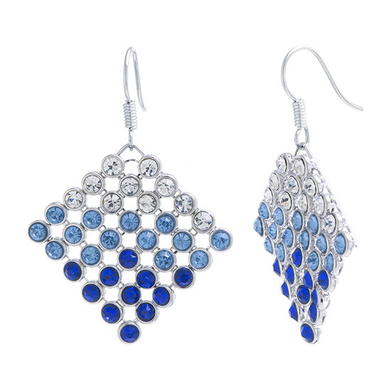 Sparkle Allure Blue Crystal Pure Silver Over Brass Hoop Earrings