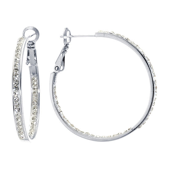 Sparkle Allure Crystal Pure Silver Over Brass Clear Crystal Hoop Earrings
