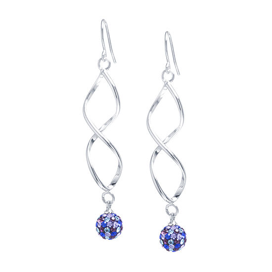 Sparkle Allure Multi Color Crystal Pure Silver Over Brass Hoop Earrings