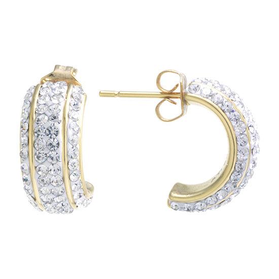 Sparkle Allure Crystal 24K Gold Over Brass Hoop Earrings