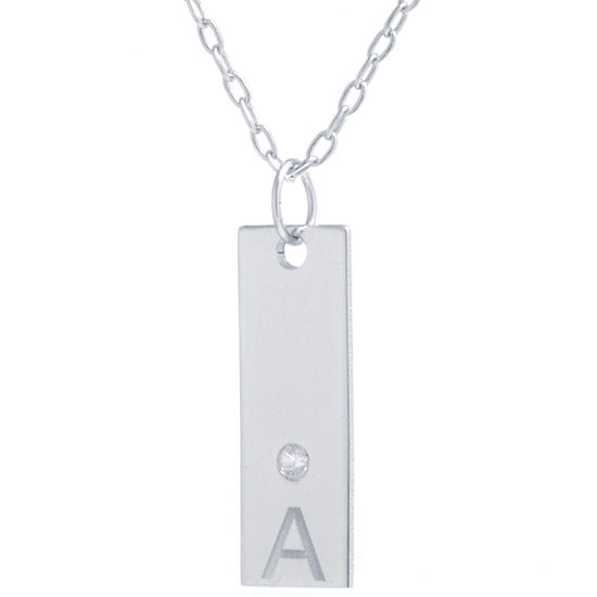 Silver Treasures Sterling Silver 16 Inch Cubic Zirconia Cable Pendant Necklace