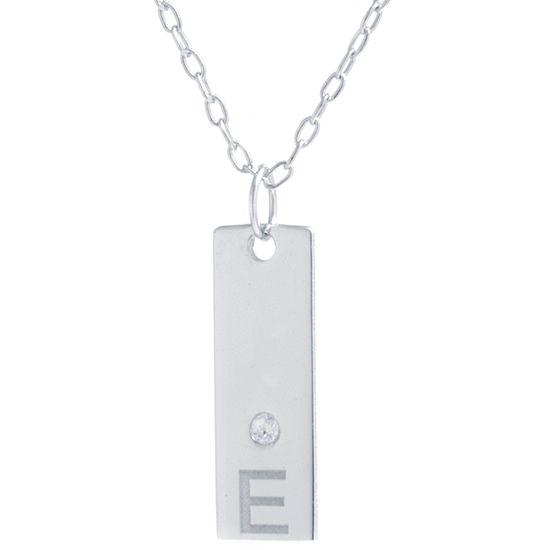 "Silver Treasures ""E"" Womens Cubic Zirconia Sterling Silver Pendant Necklace"