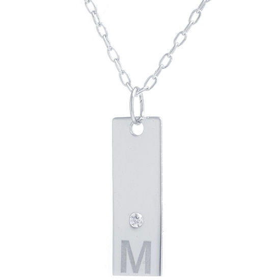 Silver Treasures M Womens Cubic Zirconia Sterling Silver Pendant Necklace
