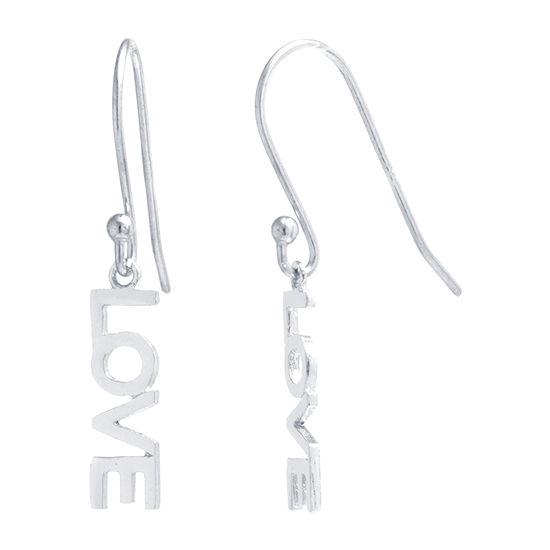 Silver Treasures Love Sterling Silver Drop Earrings