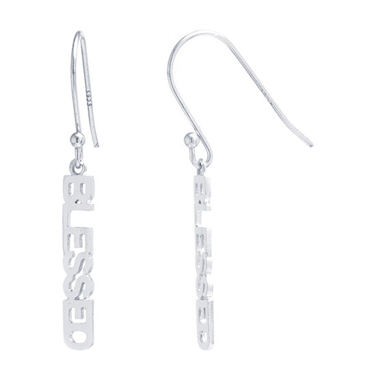 Silver Treasures Blessed Sterling Silver Drop Earrings