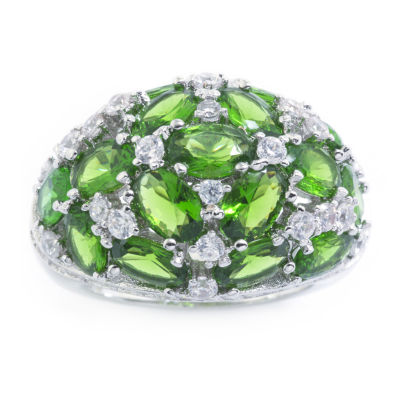 Sparkle Allure Womens Green Crystal Dome Cluster Cocktail Ring