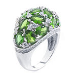 Sparkle Allure Pure Silver Over Brass Green Crystal and Cubic Zirconia Ring
