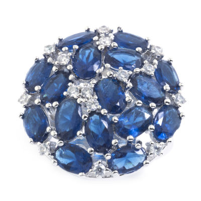 Sparkle Allure Womens Blue Crystal Cluster Cocktail Ring