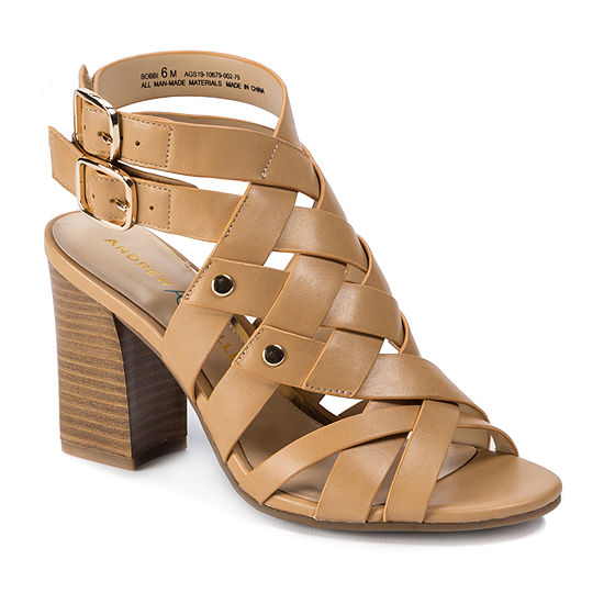 Andrew Geller Womens Bobbi Heeled Sandals Stacked Heel