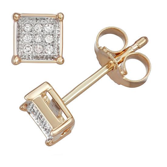 Diamond Accent Genuine White Diamond 10K Gold 5.1mm Stud Earrings