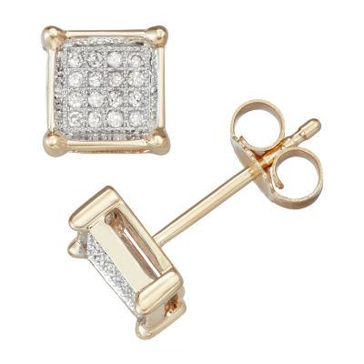 1/10 CT. T.W. Genuine White Diamond 10K Gold 7mm Stud Earrings