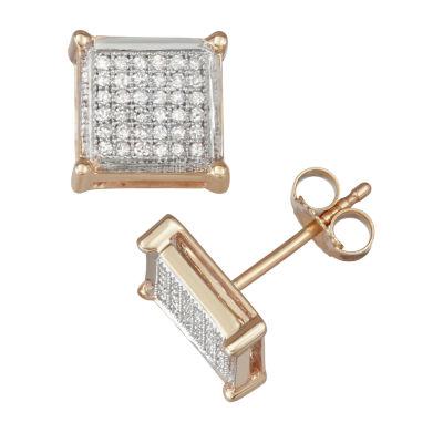 1/4 CT. T.W. Genuine White Diamond 10K Gold 9.6mm Stud Earrings