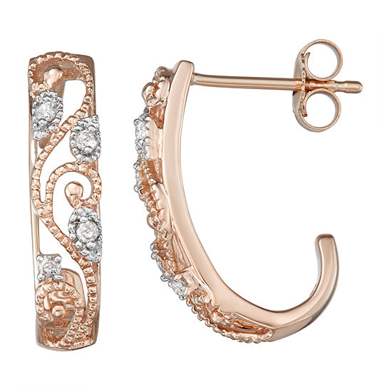 1/10 CT. T.W. Genuine White Diamond 10K Rose Gold 19.4mm Hoop Earrings
