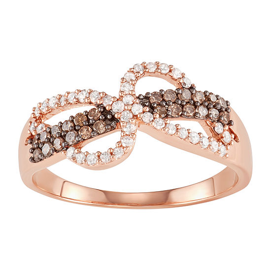 Womens 3/8 CT. T.W. Genuine Brown Diamond 10K Rose Gold Bypass  Cocktail Ring