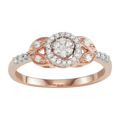 Womens 1/4 CT. T.W. Genuine White Diamond 10K Rose Gold Cluster Cocktail Ring