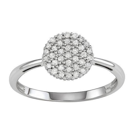 Womens 1/5 CT. T.W. Genuine White Diamond 10K White Gold Cluster Cocktail Ring