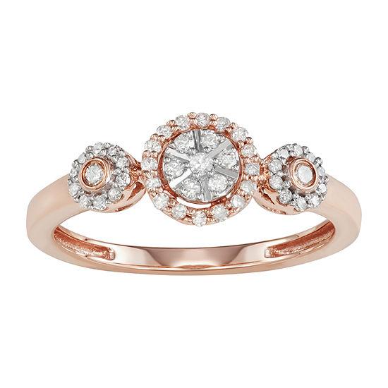Womens 1/4 CT. T.W. Genuine White Diamond 10K Rose Gold Cluster Promise Ring