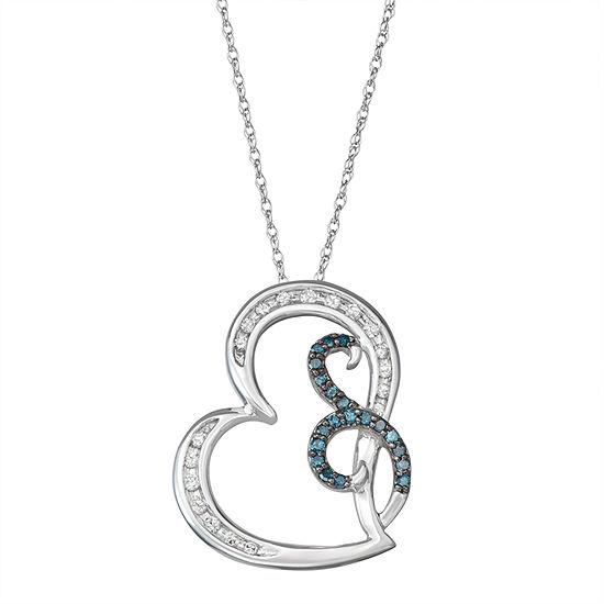 Womens 1/4 CT. T.W. Genuine Blue Diamond 10K White Gold Heart Pendant Necklace