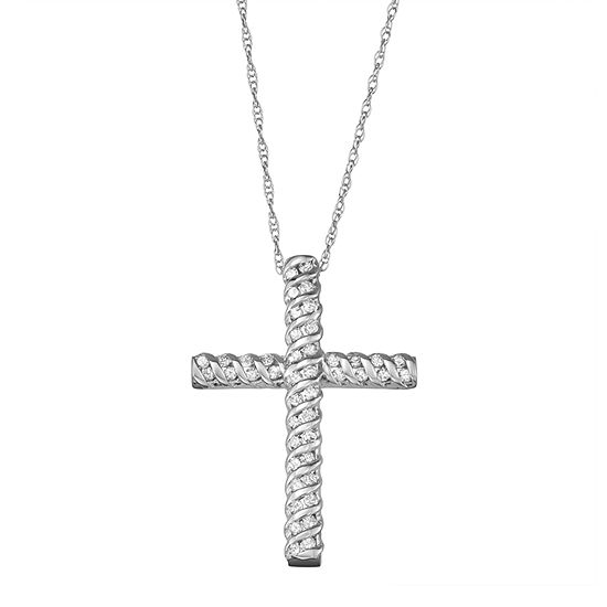 Religious Jewelry Womens 1/4 CT. T.W. Genuine White Diamond 10K White Gold Cross Pendant Necklace