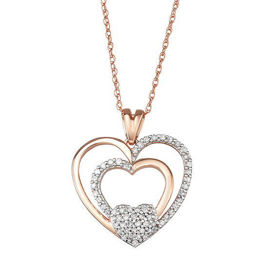 Womens 1 4 Ct Tw Genuine White Diamond 10k Rose Gold Heart Pendant Necklace
