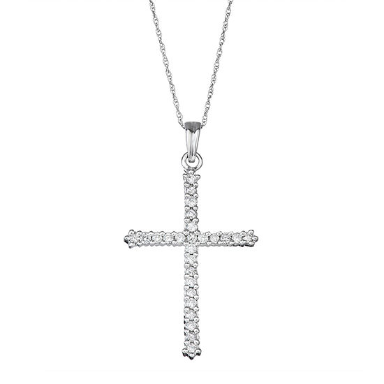 Religious Jewelry Womens 1/2 CT. T.W. Genuine White Diamond 10K White Gold Cross Pendant Necklace