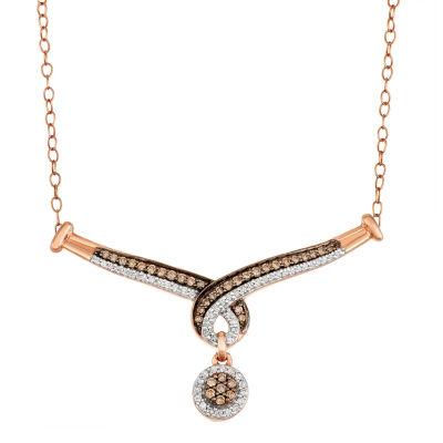 Womens 1/2 CT. T.W. Genuine Multi Color Diamond 10K Rose Gold Pendant Necklace