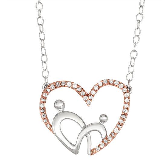 Womens 1 6 Ct Tw Genuine White Diamond 10k Rose Gold Pendant Necklace
