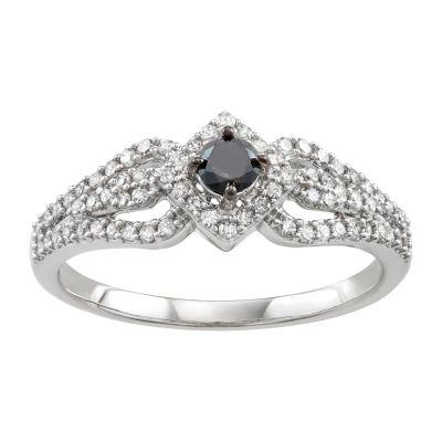 Womens 1/2 CT. T.W. Genuine Black Diamond 14K White Gold Engagement Ring