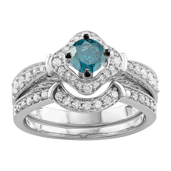 Womens 1 CT. T.W. Genuine Blue Diamond 14K White Gold Engagement Ring