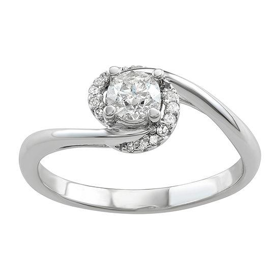 Womens 1/2 CT. T.W. Genuine White Diamond 14K White Gold Halo Engagement Ring
