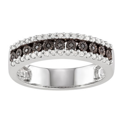 Womens 2MM 1/4 CT. T.W. Genuine Black Diamond Sterling Silver Band