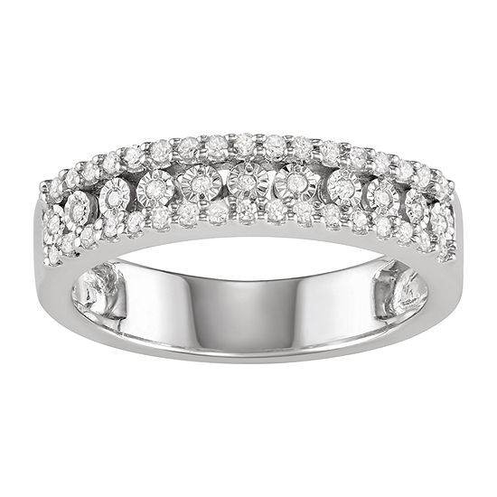 2MM 1/4 CT. T.W. Genuine White Diamond Sterling Silver Band