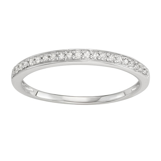 Womens 2MM 1/10 CT. T.W. Genuine White Diamond 14K White Gold Band