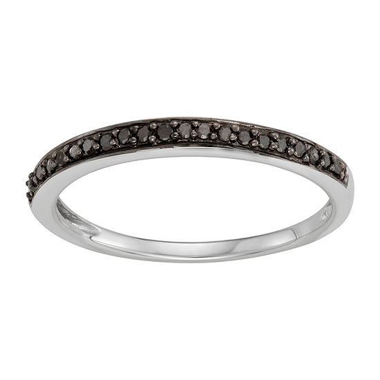 Womens 2MM 1/10 CT. T.W. Genuine Black Diamond 14K White Gold Band