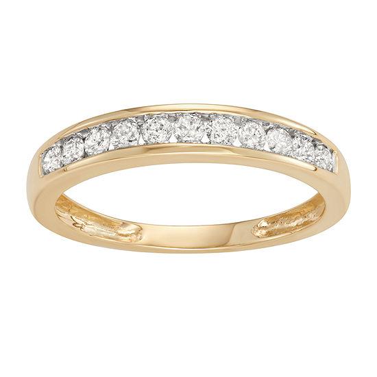 Womens 2MM 1/4 CT. T.W. Genuine White Diamond 10K Gold Band